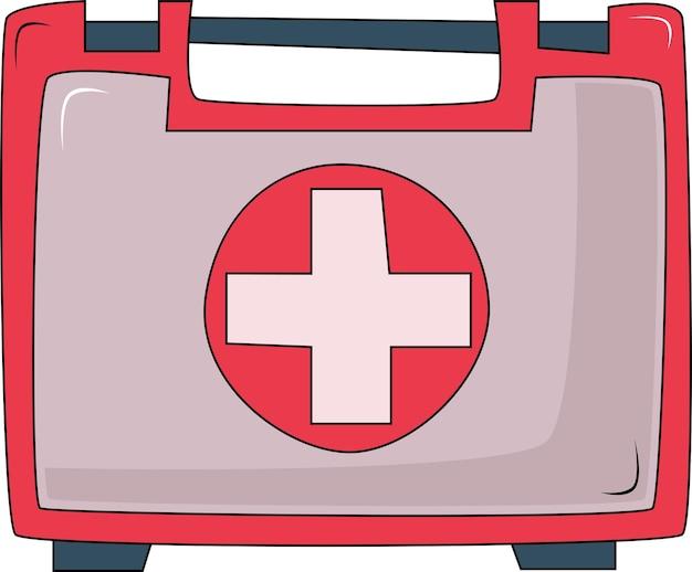 의약품 구급 상자의 상징 의료 장비가 있는 빨간 가방