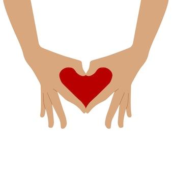심장의 상징은 손에서 접혀 있습니다. 두 손은 하트 모양으로 손가락을 접었습니다.