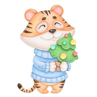 Символ новогоднего тигра с елкой на белом фоне для печати