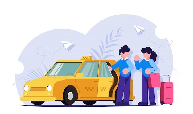 タクシーの運転手が女の子の荷物を手伝います。人々は黄色い車の近くに立つ