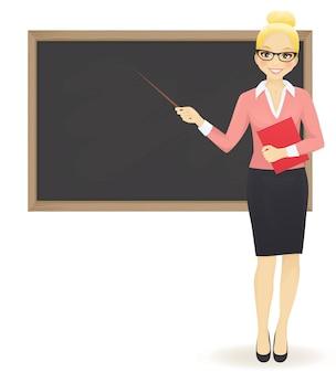 복사 공간이 표시된 칠판의 교사