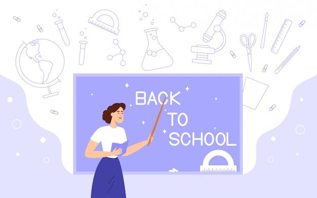 先生はボード上の「学校に戻る」という碑文へのポインターでポイントします。