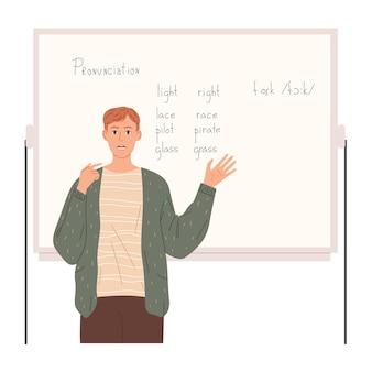 교사는 단어를 올바르게 발음하고 악센트를 향상시키는 방법을 보여줍니다.