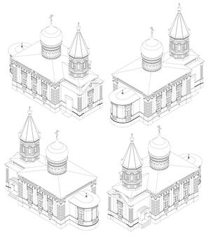 선으로 그려진 러시아 정교회 사원은 사방에서 볼 수 있습니다.