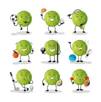 テニスボールスポーツセットキャラクター。漫画のマスコット