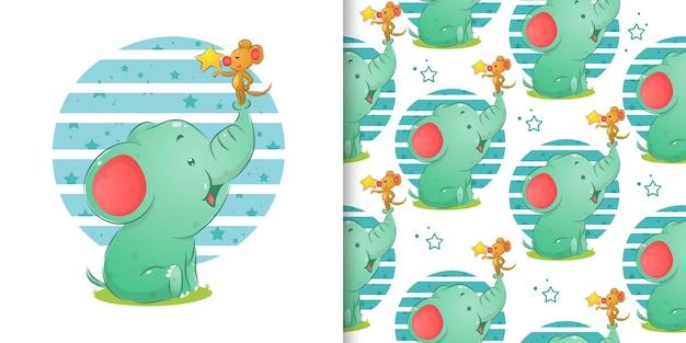 イラストのシームレスなパターンセットの星を保持している象と小さなマウス