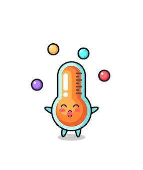 공을 저글링하는 온도계 서커스 만화, 티셔츠, 스티커, 로고 요소를 위한 귀여운 스타일 디자인