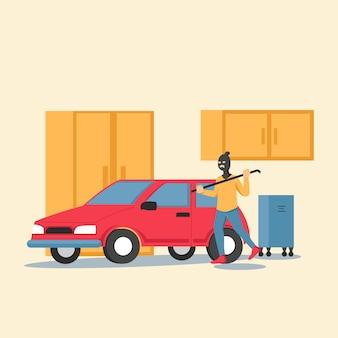 Вор подглядывает за дверью машины в гараже