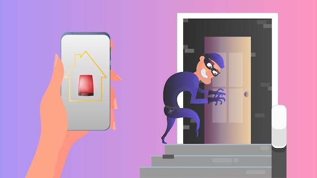 泥棒はドアから家に入ろうとしています。