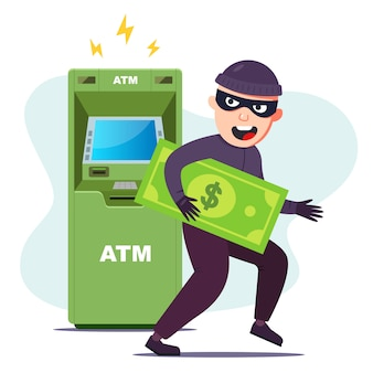 Вор украл деньги из банкомата. взломать терминал, чтобы украсть. плоский характер векторные иллюстрации.