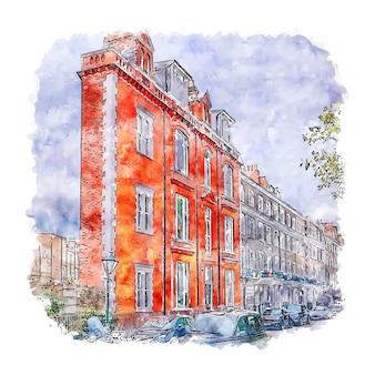 Тонкий дом лондон акварель эскиз рисованной иллюстрации