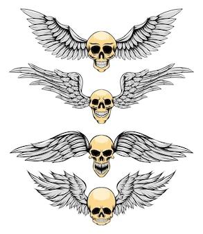 Тонкий человеческий череп с серебряным крылом для логотипа, вдохновляющего иллюстрацию