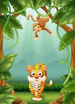 ジャングルで活動している虎と猿