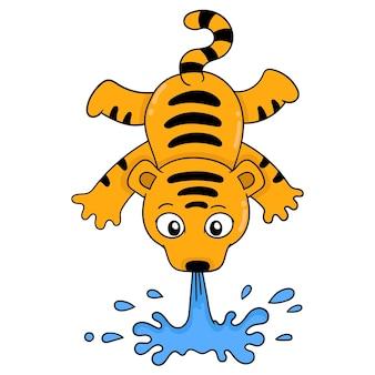 Тигр делает цирковое шоу, извергая воду изо рта, векторные иллюстрации. каракули изображение значка каваи.