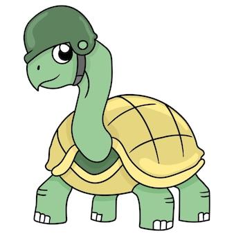 거북이 짐승은 전쟁 준비가 된 군대를 입고 있습니다. 만화 삽화 스티커 이모티콘