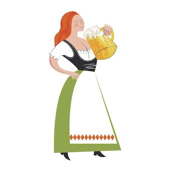 伝統的なオクトーバーフェストビール祭り民族衣装を着た女の子がビールを飲む