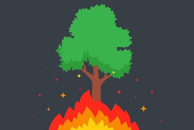나무가 불타고 있습니다. 숲에서 화재입니다. 불꽃이 타오른다. 평면 벡터 일러스트 레이 션.