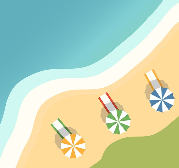 Тропический остров с пальмами и песчаным пляжем. пляжные полотенца и зонтик от солнца. летний отдых на курорте.