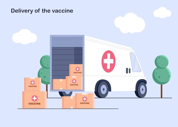 ワクチンの箱が付いているトラック。ウイルスのワクチンが見つかりました。薬局や自宅への薬の配達。