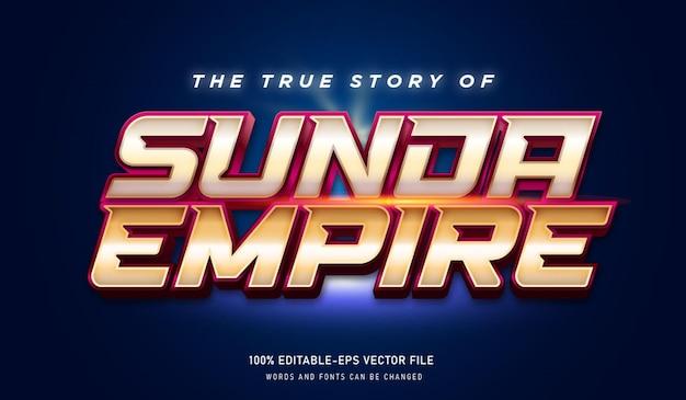 スンダ帝国の実話テキスト効果とゴールドカラーの編集可能なフォント Premiumベクター