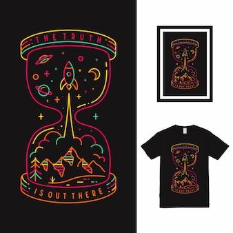 真実のラインアートtシャツのデザイン