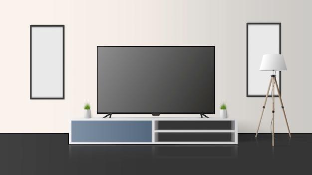 Телевизор стоит на комоде. выключите телевизор, длинную тумбочку в стиле лофт, светлую комнату.
