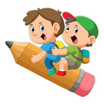 2人の学生の男の子はイラストの大きな魔法の鉛筆で飛んでいます