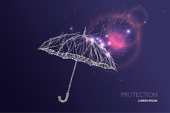 The umbrella under rain falling effect