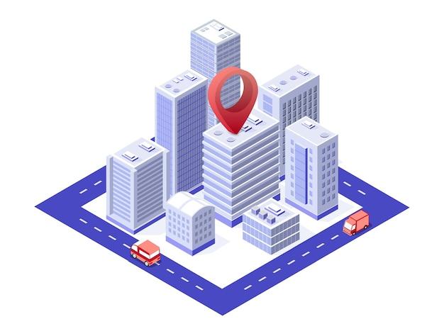 핀 목적지가있는 도시 기반 시설의 도시 지역