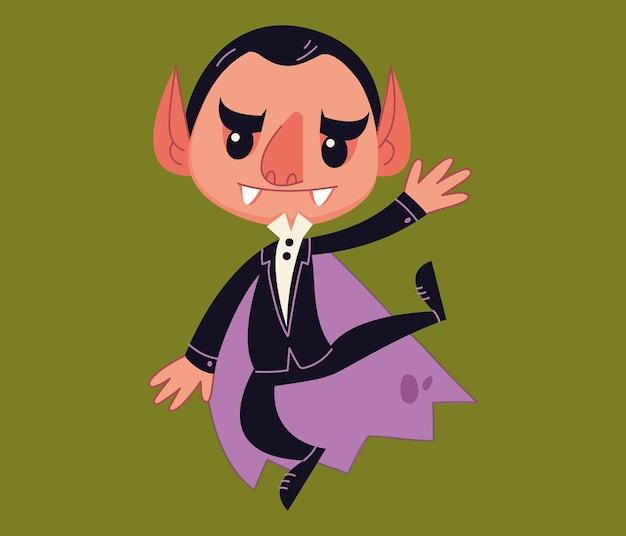 Вампир дракула танцует около фрака. мультипликационный персонаж-монстр. детские хеллоуинские вечеринки. векторные иллюстрации в мультяшном стиле для детей. изолированные забавный клипарт на белом фоне