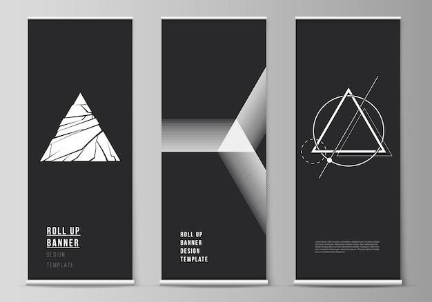 롤업 배너 스탠드, 수직 전단지, 플래그 디자인 비즈니스 템플릿의 벡터 일러스트 레이 션 레이아웃. 다른 삼각형 스타일 패턴을 사용하여 추상적인 기하학적 삼각형 디자인 배경.