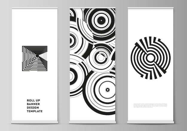 롤업 배너의 벡터 일러스트 레이 션 레이아웃은 동적 구성과 최소한의 평면 스타일에서 수직 전단지 플래그 디자인 비즈니스 템플릿 유행 기하학적 추상 배경을 의미합니다