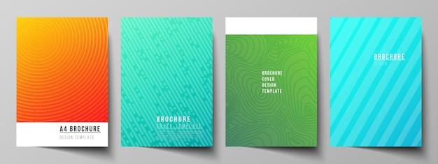 パンフレット雑誌のチラシ本のフォーマットモダンカバーモックアップデザインテンプレートのベクトルレイアウト...