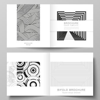 正方形のデザインの二つ折りパンフレット雑誌チラシ小冊子の2つのカバーテンプレートのベクトルレイアウト...