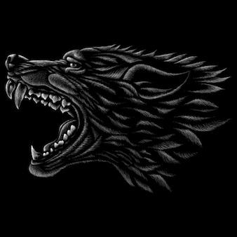 ベクトルのロゴの犬またはオオカミ