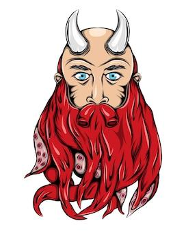 Чудовище викинг с железными рогами и бородой осьминога