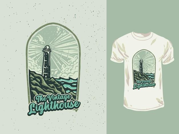 ヴィンテージ灯台バッジtシャツイラスト