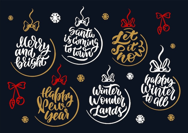 Винтажный набор для с рождеством и новым годом. буквенные фразы.
