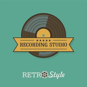 ビニールレコード。ベクトルエンブレム。レトロなスタイルのロゴ。レコーディングスタジオ。