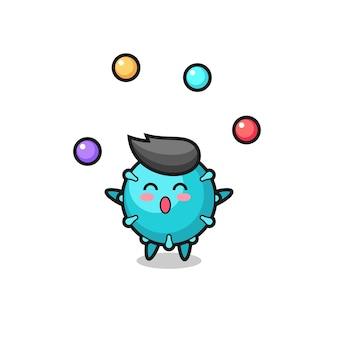 공을 저글링하는 바이러스 서커스 만화, 티셔츠, 스티커, 로고 요소를 위한 귀여운 스타일 디자인