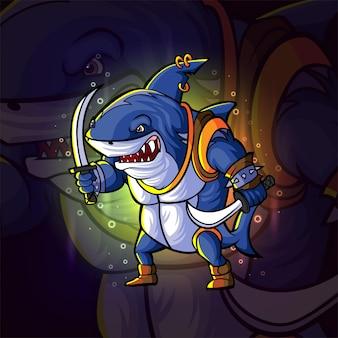 イラストの戦士サメeスポーツロゴデザイン