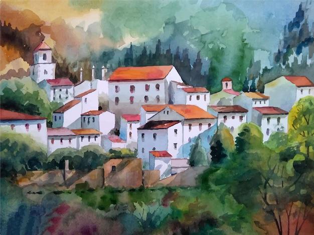 Акварельный старый замок на иллюстрации горы