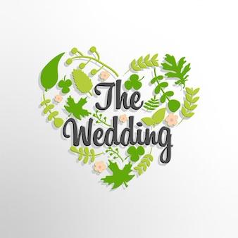 녹색 나뭇잎 배경으로 결혼식 텍스트