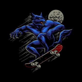 스케이트 보드 일러스트와 함께 늑대 인간