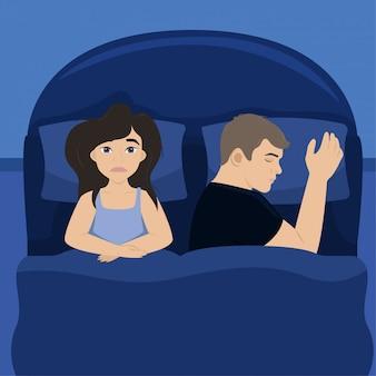 아내는 남편과 침대에 있습니다.