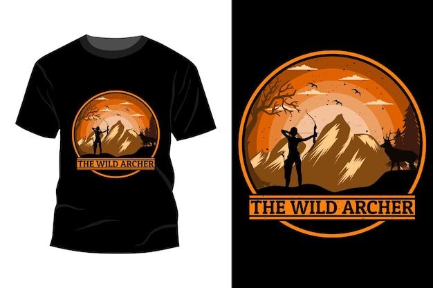 야생 궁수 티셔츠 모형 디자인 빈티지 복고풍