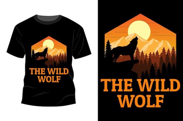 야생 늑대 티셔츠 모형 디자인 빈티지 복고풍