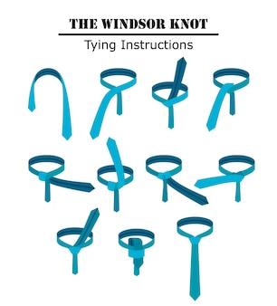 ウィンザーネクタイの結び目の指示が白い背景で隔離されました。ネクタイの結び方のガイド。フラットイラスト