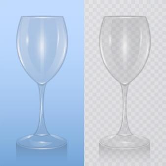 와인 잔, 알코올 음료 유리 템플릿. 현실적인 그림