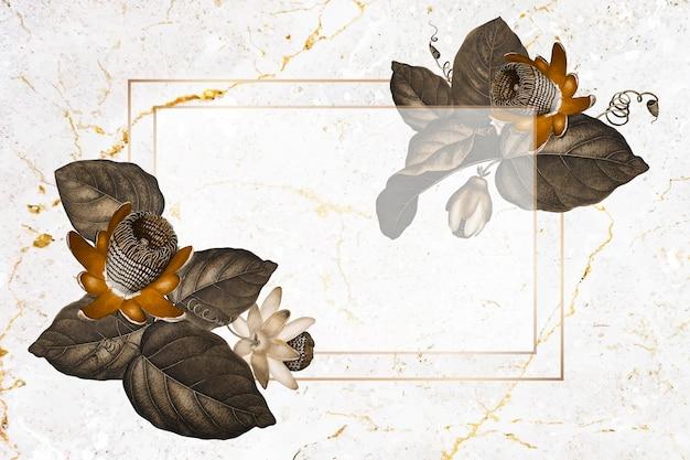 날개 달린 패션 플라워 직사각형 프레임